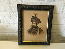 Antique Very Fine Indian Mughal / Moghul Portrait Drawing of Man in Turban