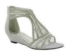 Womens Ladies Sparkling Diamante Party Flat Shoes Full Back Zip Up  Sandals