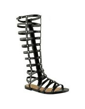 LADIES WOMENS GLADIATOR SANDALS STRAPPY FLAT KNEE HIGH ZIP UP BOOTS SHOES SIZE