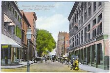 New Bedford MA Pleasant Street View Apothecary Horses Wagons Vintage Postcard