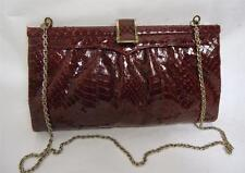 BEAUTIFUL VINTAGE RED SNAKESKIN FRAME SHOULDER CLUTCH BAG HANDBAG CHAIN STRAP