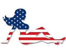 3x5 inch Mudflap Girl Shaped USA Flag Sticker - American chick mud funny trucker