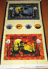 HAUNTED HOUSES Place Mats & Ornaments 100% cotton fabric Panel HALLOWEEN