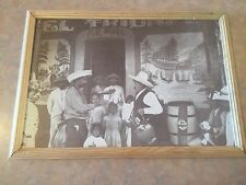 """15"""" x 11""""- Pancho Villa-Like Black and White Mexican Family Gathering Painting"""