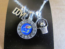 KANSAS JAYHAWKS LOVE BASKETBALL CHARM LOGO Necklace Rhinestone Jewelry  New