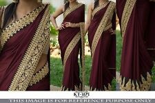 BEAUTIFUL BOLLYWOOD  DESIGNER PARTY WEAR MARRON  COLOR  GEORGETTE SAREE