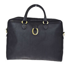 Authentic Christian Dior Logo Briefcase Hand Bag PVC Leather Black Italy 07Z505