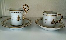 Limoges Porcelain Hand Painted Gold Honey Bee Demitasse Coffee Tea Cup, set of 2