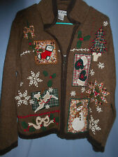 WOMENS UGLY CHRISTMAS SWEATER BROWN CARDIGAN REINDEER SNOW TREE MITTENS LARGE