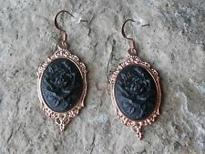 BLACK ROSE CAMEO ROSE GOLD TONE COPPER EARRINGS - UNIQUE - WEDDING - FORMAL