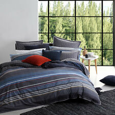 Logan and Mason MIAMI CHARCOAL Single Bed Size Doona Duvet Quilt Cover Set NEW
