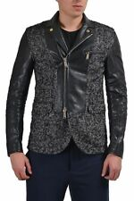 Dsquared2 Men's Linen Wool Leather Double Breasted Coat Jacket US S IT 48