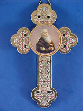 Beautiful St BENEDICT PROTECTION Cross Wood Rhinestones Exorcism's Saint 4-1/2""