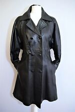 FITTED LEATHER TRENCH COAT MAC SKIRTED RAINCOAT BLACK SEXY SPY MISTRESS UK 16 L