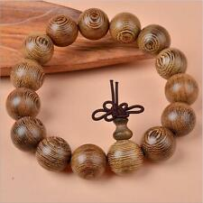 Men's Fashion Natural Wenge Wooden Buddha Lucky Energy Bracelet 18mm Bead gifts