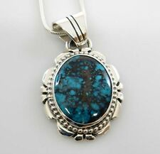 Unique Sterling Silver Nevada Blue Diamond Turquoise Pendant Handmade Jewelry