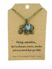 Recuerda siempre Bronce Esmalte Plateado Elefante collar de tarjeta de mensaje de regalo de presupuesto