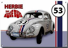 HERBIE THE LOVE BUG METAL SIGN,HIGH GLOSS FINISH. CLASSIC FILM CARS,VW BEETLE.