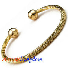 ACCENTS KINGDOM MAGNETIC STAINLESS STEEL CABLE GOLD GOLF CUFF BRACELET