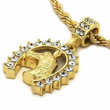 "Mens 14K Gold Plated Horse Hip-Hop 4 mm/24"" Rope Chain With pendant"