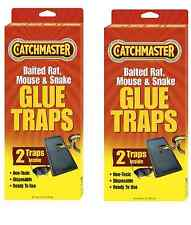 4 TRAPS - Catchmaster 402 Baited Rat, Mouse and Snake Glue Traps, 2 Pack