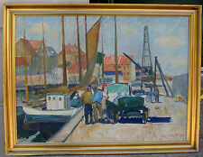 Andreas Moe (1877) View over Allinge Harbor. Island of Bornholm. Dated 1935.