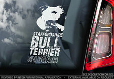 Staffie - Dog Car Sticker - Staffordshire Bull Terrier on Board Sign Gift - TYP1