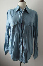 Womens FRENCH CONNECTION FCUK Slate Blue Button Front Shirt ~ XL (L30)