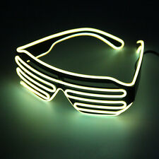 Hot Wire Neon LED Light Up Shutter Shaped Glasses for Costume Party Red+Blue FY