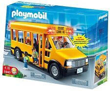Playmobil set 5940 SCHOOL BUS & 4 FIGURES with working lights NEW