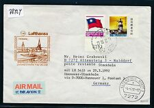 78424) LH FF Hannover - Stockholm 29.3.92, cover Taiwan China RR!