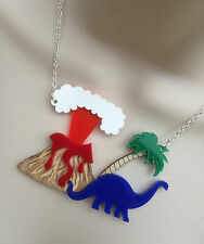 LASER CUT ACRYLIC/BIRCH WOOD 'VOLCANO/DINOSAUR' STATEMENT NECKLACE