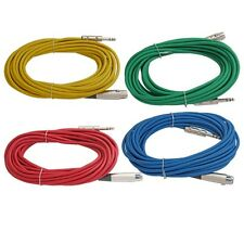 4 mixed color 25 ft foot 1/4 TRS to 3pin XLR female microphone patch snake cable