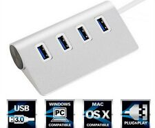 Aluminium 4 Port USB 3.0 Hub 5Gbps High Speed Adapter With Cable For Mac Pc