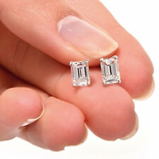 1 ct Emerald Cut Solitaire Stud Earrings in Solid 14k Real White Gold Screw Back