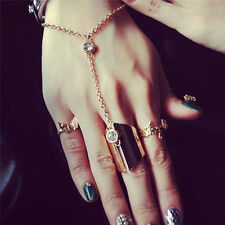 Women Casual Link Midi Ring Set Chic Crystal Knuckle Ring Chain Finger Rings TT