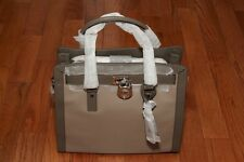 NWT Michael Kors $428 Hamiltion Frame Out N/S Large Tote Dark Taupe/Elephant