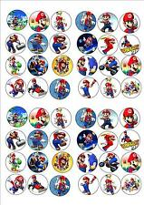 SUPER MARIO EDIBLE RICE PAPER BIRTHDAY PARTY FAIRY CUPCAKE CAKE TOPPERS x 48