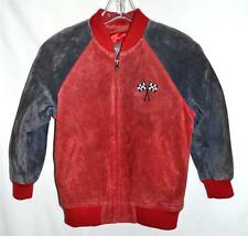 Wilsons Leather Kids Gray & Red Suede Leather Jacket w/ Racing Car Applique Sz M