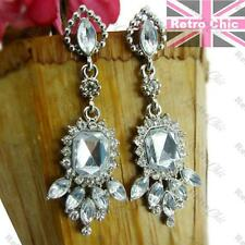 5cm ART DECO STYLE vintage silver fashion PROM EARRINGS crystal white RHINESTONE