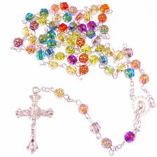 Christian rainbow flower multi-coloured rosary beads acrylic 6mm beads