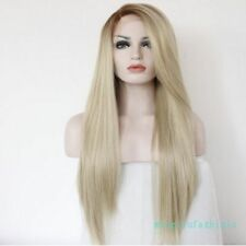 Front Lace 100% Real Hair! Amazing! New Stylish Blonde Beautiful Long Wig Hair