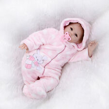 "22""Lifelike Reborn Baby Soft Vinyl Real Life Newborn Baby Doll/pink clothes"
