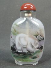 Chinese Polar Bear Inside Hand Painted Glass Snuff Bottle:Gift Box