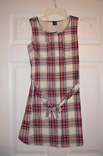 NWT GAP Kids Girls XL 12 Plaid Jumper Dress with Tie Waist - New