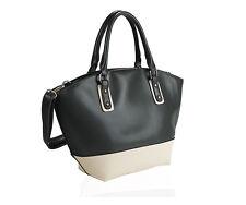 REGALO di Natale! grandi Crema & Olive Shopper Handbag tasche interne NUOVO con etichetta MANIGLIE
