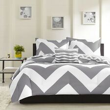 New Luxurious Reversible 3-Piece Twin Size Bed Comforter Set Bedding Grey White