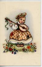 Bambina con Mandolino Musica Childrens Girl w Mandolin Music PC circa 1940 Italy