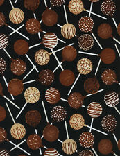 1 Yard Quilt Cotton Fabric - Timeless Treasures Chocolate Cake Pops on Black