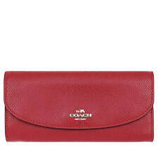 NWT Coach Crossgrain Leahter Slim Envelope Wallet True Red  F 54009 $250